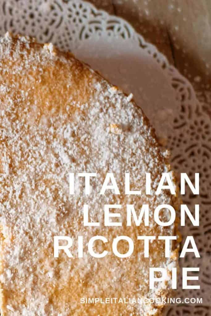 Recipe for Italian Lemon Ricotta Pie