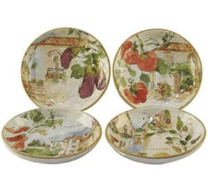 set of 4 pasta bowls plates