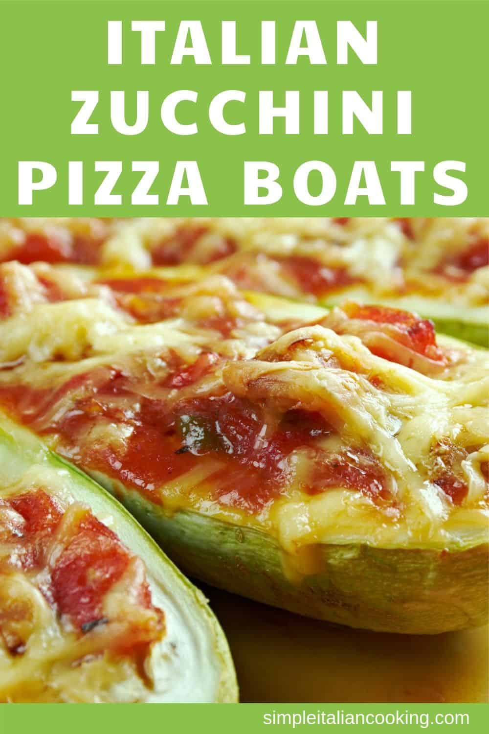 Zucchini pizza boats is an easy zucchini recipe for a side dish to dinner or lunch.  This Italian recipe uses minimal ingredients and tastes amazing!   Have fun with your zucchini! Enjoy!   #zucchini #zucchinirecipes #healthyzucchini #vegetarianrecipes #sidedishrecipes #italianzucchini #italiandinner